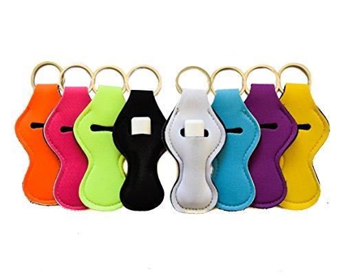 Keychain Chapstick Holder, Neutral Cute Color Design Neoprene Lip Balm Holder, 8 pack