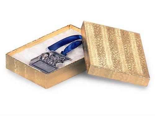 5-1/2x3-1/2x1-7/8 Gold Foil Jewelry Box w/ Non-tarnish Cotton (Unit Pack - 100)