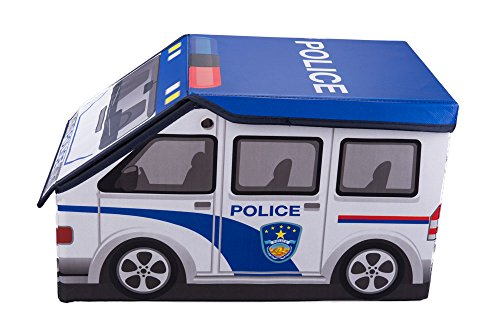 Kids Police Car Collapsible Toy Storage Organizer by Clever Creations | Toy Box Folding Storage Ottoman for Kids Bedroom | Perfect Size Toy Chest for Books, Kids Toys, Baby Toys, Baby Clothes
