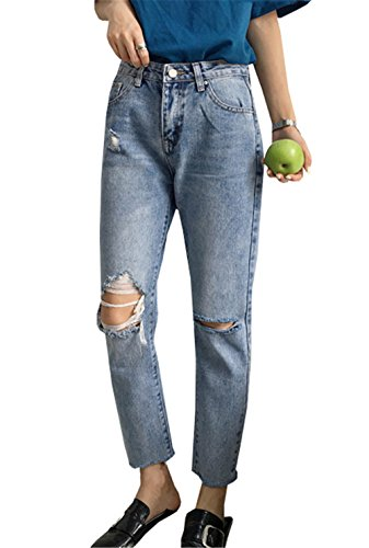 Ripped Boyfriend Pantalones clothing Chino Straigth Vaqueros Mujer les Tejana Alta Cintura Jeans COCO Look Used Pitillo Destroyed para Senora Pants OBIwqf