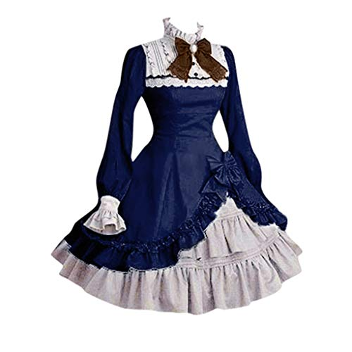 Women's Lolita Lace Patchwork Dress| Long Sleeve Bowtie Party Dress| Bow Ruffled Maid Princess Dress (M, Blue)