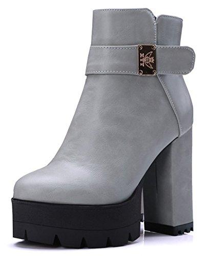 IDIFU Womens Fashion High Block Heels Platform Boots Side Zipper Short Ankle Booties Gray fmaOuH