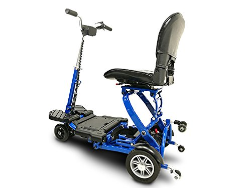 MiniRider Folding is a compact mobility scooter, Indoor/Outdoor use, Easy Pull Throttle, Key Ignition and Battery Gauge- Blue, Bundled with Outdoors Equipments 1-Year Extended Warranty