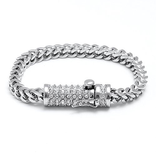 Liuanan Mens Biker Stainless Steel Full Diamond Dragon Curb Chain Bracelet Safety Clasp Gothic Cuff Bangle (Silver)