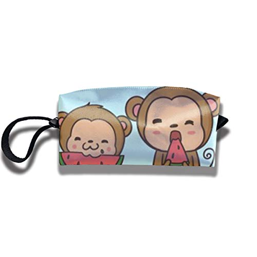 Cosmetic Bags With Zipper Makeup Bag Monkey Baby Eat Watermelon Middle Wallet Hangbag Wristlet -