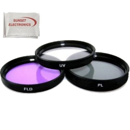 (3 Piece Professional Filter Kit (UV-CPL-FLD) for Nikon D5100, D3100, D40, D40X, D60, D80, D3000, D5000, D7000 Digital SLR Cameras w/ 18-55mm, 55-200mm, 50mm)