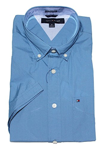 Tommy Hilfiger Mens Classic Fit Short Sleeve Woven Shirt (Medium, Mainsail - Mens Hilfiger Sale Tommy