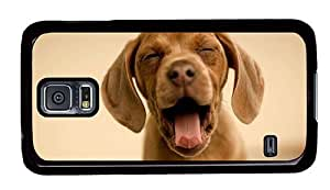 Hipster Samsung Galaxy S5 Case original covers Yawning Puppy PC Black for Samsung S5