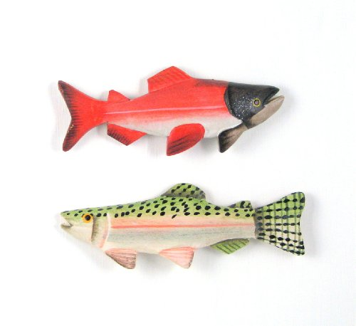 3D Sockeye Salmon and Rainbow Trout Fish Carved Wood Refrigerator Magnets (Set of 2)