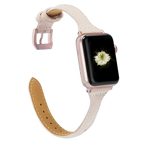 Wearlizer Beige Compatible with Apple Watch Slim Leather Band 38mm 40mm Womens for iWatch Sport Strap Wristband Replacement Thin Leisure Bracelet (Rose Gold Metal Buckle) Series 4 3 2 1 Edition