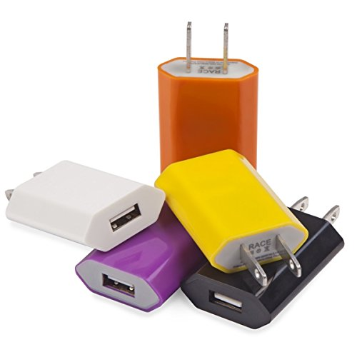 iPhone and Samsung USB Wall Adapters in White, Black, Orange, Yellow & Purple (5 Pack) - Single Port 2.0 Female Galaxy S7 S6 and iPhone 6 6s 5 - Also Compatible w/ BLU, LG, Blackberry, HTC, Sony