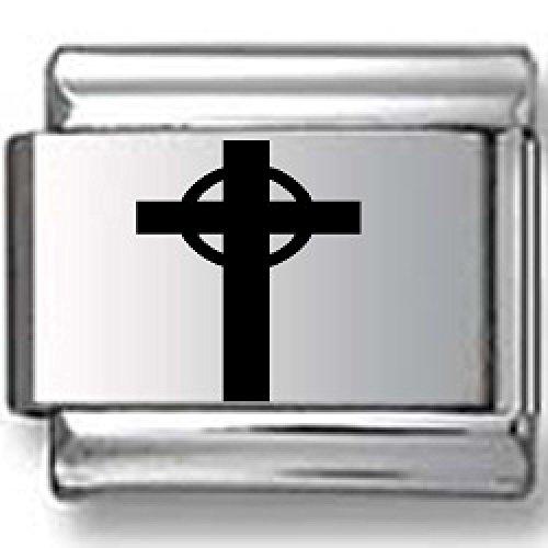 - Holy Cross Black Laser Italian Charm