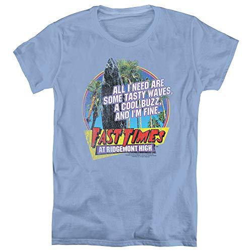 Trevco Fast Times Ridgemont High Tasty Waves Women's T Shirt, X-Large Carolina Blue (Tasty Waves)