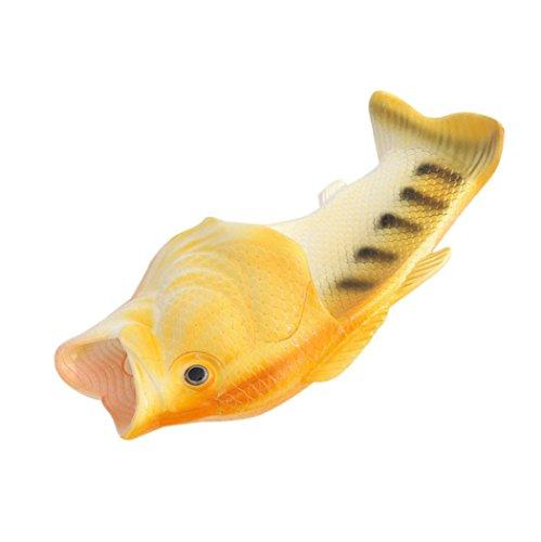 Deesee (tm) Creativo Unisex Acquazzone Di Pesce Pantofole Divertenti Scarpe Da Spiaggia Sandali Giallo (adulto)