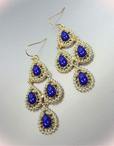 Urban Artisanal Gold Turquoise Enamel Dark Blue Beads Chandelier - Chandelier Enamel