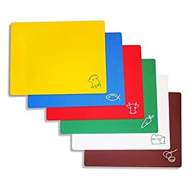 New Star Foodservice 42627 Flexible Cutting Board, 12-Inch by 15-Inch, Assorted Colors, Set of 6