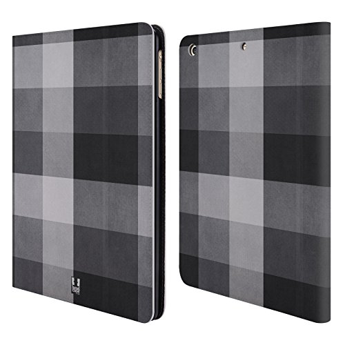 Head Case Designs Nero Grigio Plaid - Pattern Collezione Cover a portafoglio in pelle per Apple iPad Air