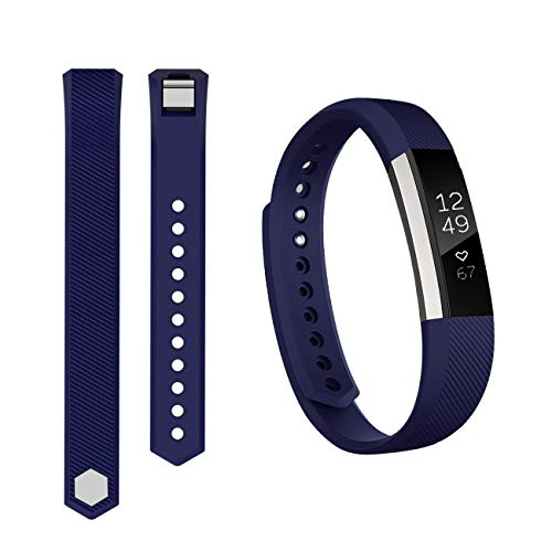 Keasy Replacement Bands Compatible for Fitbit Alta and Fitbit Alta HR, Sport Bands with Secure Metal Buckle(Navy Blue-1,Large(6.7