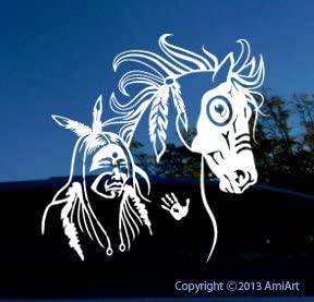 "Mustang Horse Shoe Tribal 18/"" x 20/"" Window Decal Decals Trailer Sticker Graphics"
