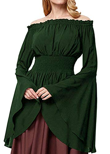 Womens Renaissance Blouse Off Shoulder Trumpet Sleeve Peasant Tops Medieval Victorian Costume (S, Green)]()