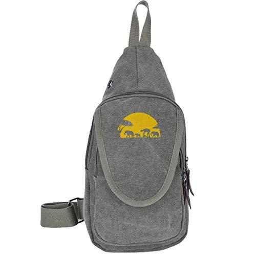 Elephants And Imperial Walker Across African Safari Canvas Chest Shoulder Backpack For Trekking Outdoor Sport Casual Bag For Men & Women Moss ()