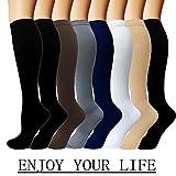 Iseasoo 7 Pack Copper Knee High Compression Socks for Men & Women-Best for Running,Athletic,Medical,Pregnancy and Travel -15-20mmHg