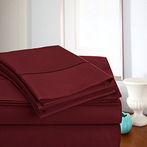ADDY HOME FASHIONS MEGA Sale Today! Luxury Sheets On Amazon Luxury 800 Thread Count 100% Egyptian Cotton Ultra Soft Sheet Set, Queen - Burgundy