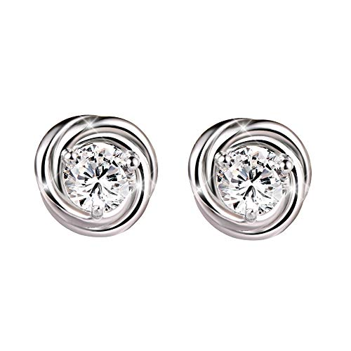 (AVECON Sterling Silver Rose Flower Stud Earrings Clear Cubic Zirconia Hypoallergenic Personality Earring for Women(Rose-Flower))