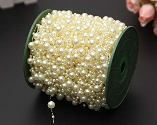 Bingcute 100 Feet Fishing Line Artificial Green Pearls String Beads Chain Garland Flowers Wedding Party Decoration,Party Supplies