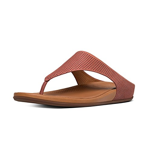 FitFlop Womens Banda Perf Leather Toe-Thong Rosy Sand Sandal - 9 by FitFlop