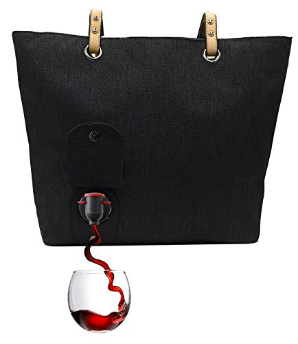 (PortoVino City Wine Tote (Black) - Fashionable Wine Purse with Hidden, Insulated Compartment, Holds 2 bottles of Wine!)