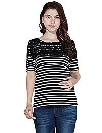 Sweet Mommy Maternity and Nursing Lace Shoulder Stripe Short Sleeve Tee Shirt