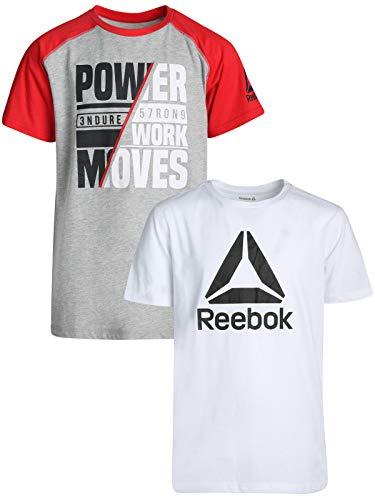 Reebok Boys Short Sleeve Fashion T-Shirt (2 Pack), White Heather Grey/Black, Medium / 10-12\''