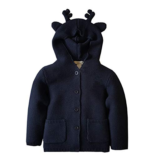 Knitted Outerwear - Dealone Baby Boys Hooded Cardigan Jacket Long Sleeve Striped Knitted Sweater Toddler Winter Warm Outerwear