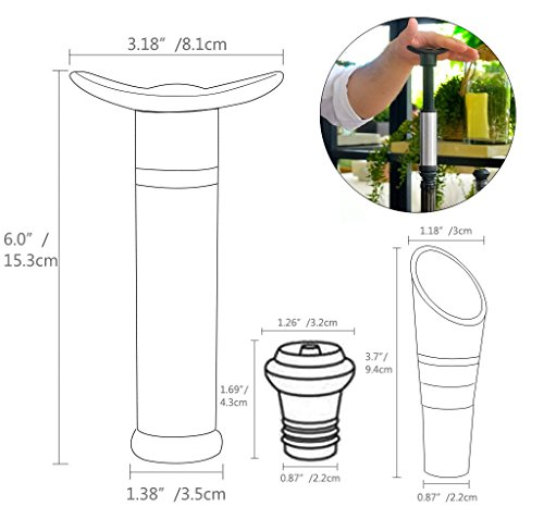 Wine Saver Preserver Vacuum Pump with Wine Aerator/Pouring Spout and 3 Vacuum Bottle Stoppers to Save Fresh by Winer Life (Image #5)