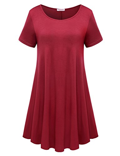 BELAROI Womens Comfy Swing Tunic Short Sleeve Solid T-Shirt Dress (S, Wine Red)