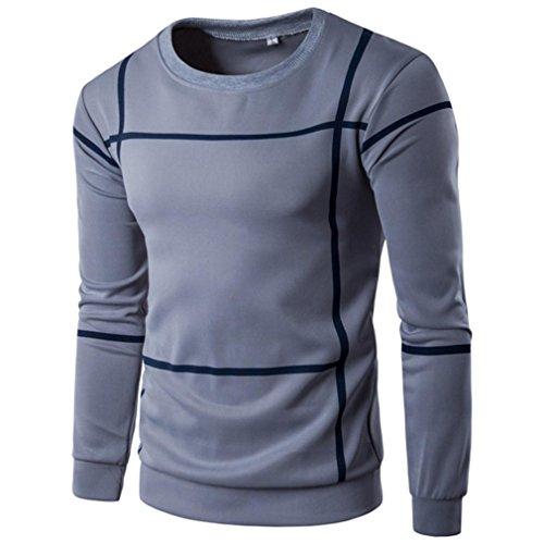 Men's Winter Clothes, Boomboom Fashion New Striped Long Sleeve Men Sweatshirt Coat (XXL, Gray)