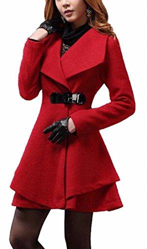 FLCH+YIGE Womens Winter Warm Lapel Wool Overcoat Long Swing Coats Jacket 1 XS