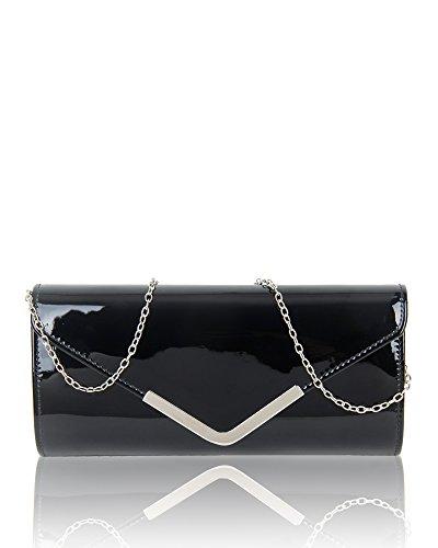 Evening Prom Ladies cm Clutch 26x12x5 Women's Patent Elegant 5 Wedding Shiny Bag Party Size Black Handbag Fashion qgg1t8x
