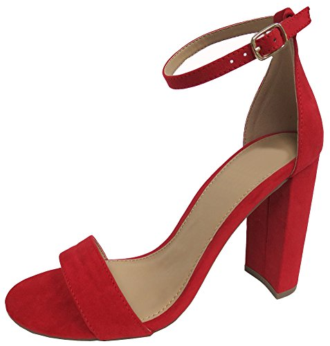 (Cambridge Select Women's Open Toe Single Band Buckled Ankle Strap Chunky Block Heel Sandal (6 B(M) US,)