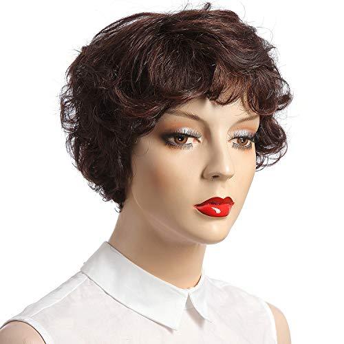 (NFACE Human Hair Wigs for Black African American Women ladies Short Body Deep Curly Water Wave Brown Mixed Auburn Lace Ladies Girl's Mommy 75g 2/33 Darkest Brown Auburn 4.5