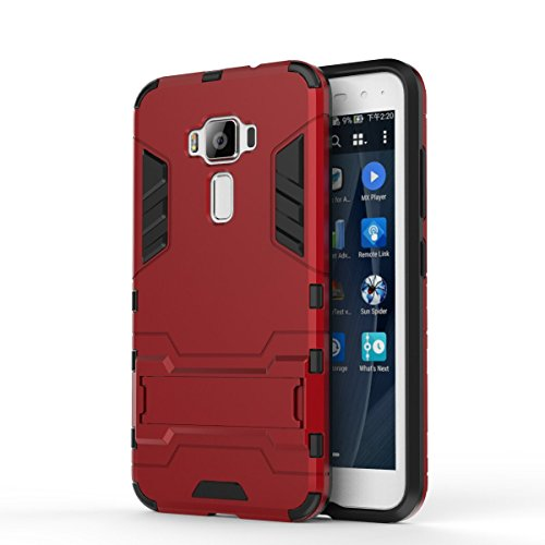 Asus ZenFone 3 ZE520KL Case: Lrker Full Protection Super Hard PC Armor Shell Soft TPU Inside Dual Layer with Kickstand Fall Proof Prevent Drop for Asus ZenFone 3 ZE520KL(Not ZE552KL), Red