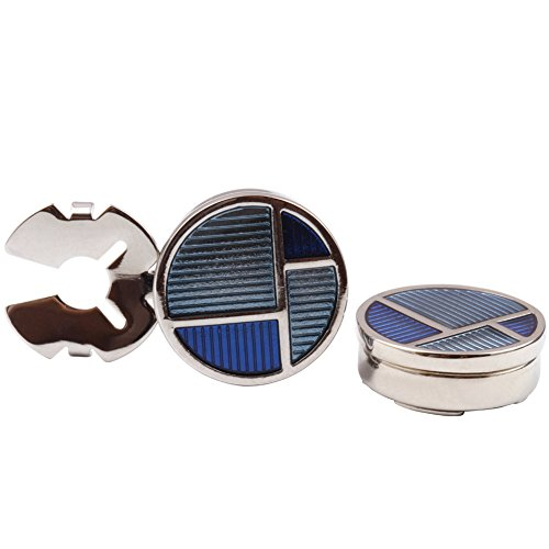 HJ Men's Jewelry Cuff Link Round Blue Button Cover