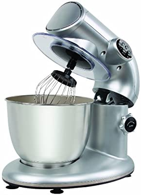 Knox 650 Watt 4 Speed Stand Mixer with 6 QT Stainless Steel Bowl with 4-Piece Solid Beechwood Kitchen Utensil Set, 3 Pack Kitchen Textiles, Heavy-Duty Stainless Measuring Cup Set and Kamenstein 4-Piece Spice Set by Knox