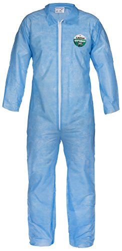 Lakeland SafeGard Economy SMS Coverall, Disposable, Open Cuff, Small, Blue (Case of 25) ()