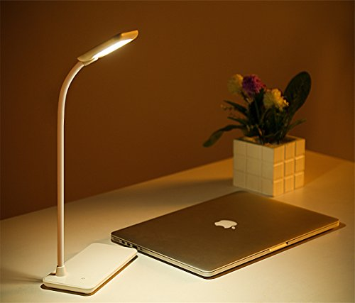 LED Gooseneck Desk Lamp 3 Levels Brightness Dimmable Reading Light Touch Control Folding Office Lamps USB Rechargeable Eye-Caring, White by Beegoo
