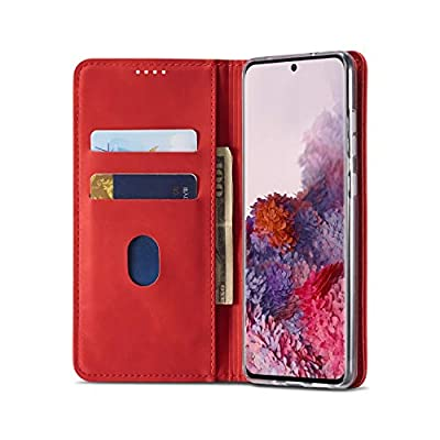 BeyeX Samsung Galaxy Note10 Plus Note 10+ Flip Case Leather Cover Mobile Phone Cover Kickstand Card Holders Extra-Shockproof Business Pure Color Two Card Slot One Money Slot (red): Toys & Games