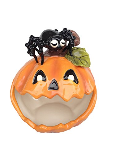 Blue Sky Ceramic Pumpkin Spider Candy Bowl, Multicolor -