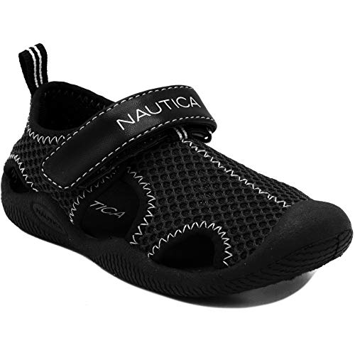 (Nautica Kids Kettle Gulf Protective Water Shoe,Closed-Toe Sport Sandal-Black/Black-11)