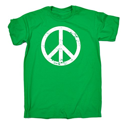 70s Kelly Green (Peace Symbol t-shirt 70s tee seventies music top love (S - KELLY GREEN) T-SHIRT)